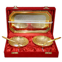 Gold & Silver Elegant Plated Brass Bowl Set Of 5 Pcs With Box Packing