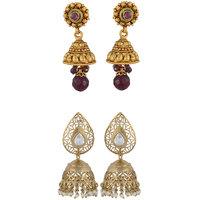 Arsya Jewellery Golden Maroon Jhumki Festive Golden Jhumki AOC103