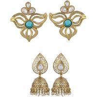 Arsya Jewellery Golden Studs With Jade Blue Festive Golden Jhumki AOC85