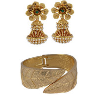 Arsya Jewellery Golden Danglers With Green,Golden Antique Textured Cuffs AOC316