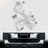 Decor Kafe Floral Flower With Butterfly  Wall Decal -(Large)