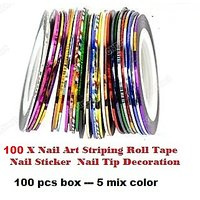 Nail Art Striping Roll Tape(100pcs- Five Color)  Nail Sticker Nail Tip Decoratio