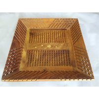 Wood Ocean Square Serving Tray With Elegant Finish