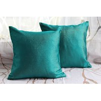 Green Cushion Cover With Golden Lines (Set Of 2)
