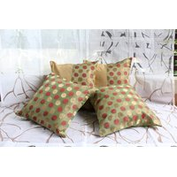 Green Banarasi Silk And Raw Silk Cushion Cover  ( Set Of 4)