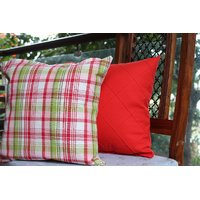 Red And Check Pattern Cushion Covers ( Set Of 2 )
