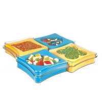 A Gift Set Of Plastic Dry Fruit Serving Tray With Set Of 4 Pcs.