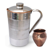 Prisha India Copper Jug Pitcher With, Kalash 'Lota' Copper Utensils Ayurveda Healing - 6438698