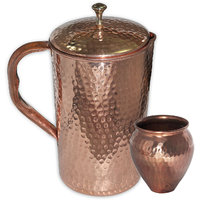 Prisha India Copper Jug Pitcher With Matka Glass, Ayurvedic 'Lota' For Ayurveda Healing