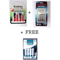 Uniross 4 Hybrio 2100 Mah Rechargeable Batteries With Uniross Quick Charger