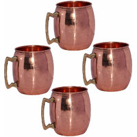 Set Of 4 Prisha India Copper Moscow Mule Mug With Brass Handle