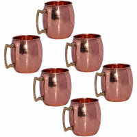 Set Of 6 Prisha India Pure Copper Moscow Mule Mug With Brass Handle