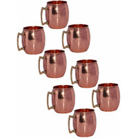 Set Of 8 Pure Copper Moscow Mule Mug With Brass Handle