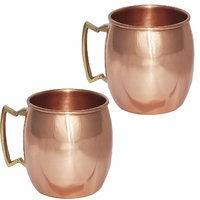 Set Of 2 Prisha India Pure Copper Moscow Mule Mug With Brass Handle