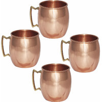 Set Of 4 Prisha India Pure Copper Moscow Mule Mug With Brass Handle