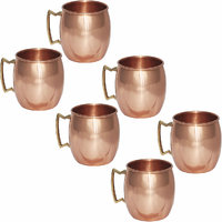Set Of 6 Pure Copper Moscow Mule Mug With Brass Handle