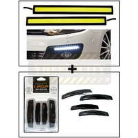 High Dentisity Car Day Time Running Light (DRL) + I Pop Car Door Guard Black
