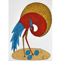 Mandi - Gond Tribal Wall Art On Paper - Bird With Three Eggs - IGPa-017