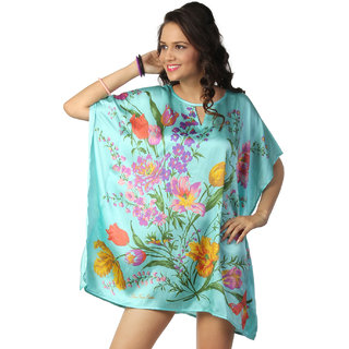 Love From India - Blue Floral Print Poncho