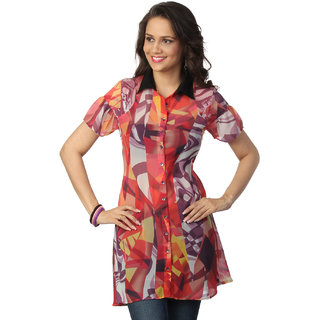 Love From India  Red Abstract Print Tunic _buy One Tunic Get One Scraf Free