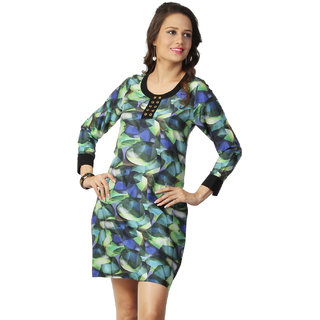 Love From India - Green Dress With Abstract Print