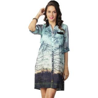 Love From India - Green Tree Print Dress