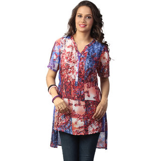 Love From IndiaYellow Abstract Tree Print Tunic_buy One Tunic Get One Scraf Free