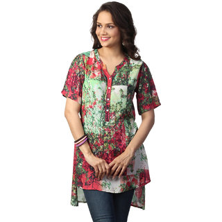 Love From India  Red Abstract Tree Print Tunic _buy One Tunic Get One Scraf Free