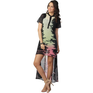 Love From India - Black Abstract Print Dress