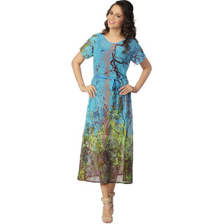 Love From India - Blue Forest Tree Print Dress