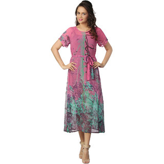 Love From India - Pink Forest Tree Print Dress