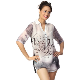 Love From India  Off White Digital Print Tunic _buy One Tunic Get One Scraf Free