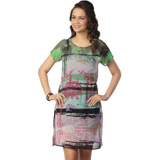 Love From India - Green Palm Tree Scenic Print Dress