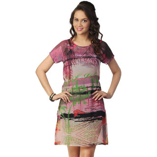 Love From India - Pink Palm Tree Scenic Print Dress