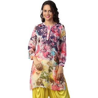 Love From India  Pink Floral Print Tunic _buy One Tunic Get One Scraf Free