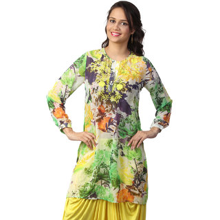 Love From India  Yellow Floral Print Tunic _buy One Tunic Get One Scraf Free