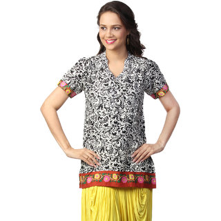 Love FromIndia Black Tunic With Folkloric Print_buy One Tunic Get One Scraf Free