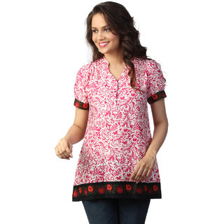 Love From India Pink Tunic With Folkloric Print_buy One Tunic Get One Scraf Free