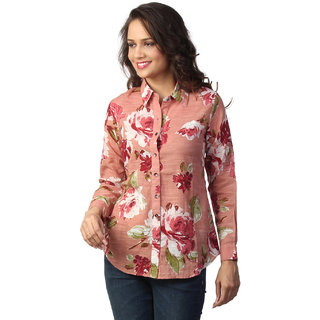 LOVE FROM INDIA PEACH FLORAL PRINTED SHIRT
