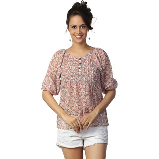 Love FromIndia Peach Tunic With Folkloric Print_buy One Tunic Get One Scraf Free