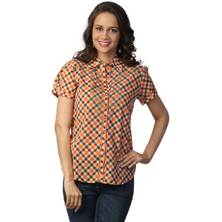LOVE FROM INDIA ORANGE CHECKS PRINTED SHIRT