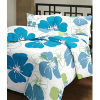 Beautiful Blue Floral Reversible Blanket Dohar Ac Quilt