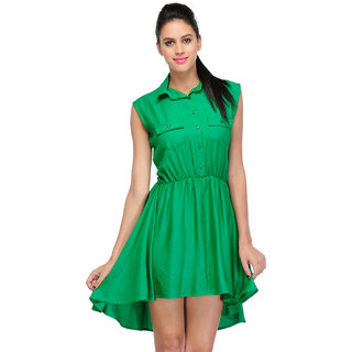 Sukuma Green Pocket Style Short Dress
