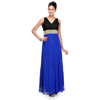 Sukuma Blue Designer Sequins Long Dress