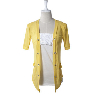 Hi-Fashion:Stylish Rhinestone Pocket Flower Transparent Back Coat Yellow(Size:S)