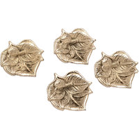 Disc Creations Set Of 4 Designer Leaf Shaped Deepak In Metal