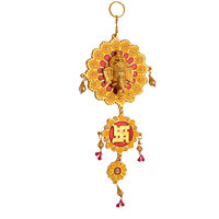 Disc Creations Shri Ganesh And Swastik Beautiful Door/ Wall Hanging Golden Polis
