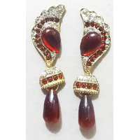 Jarani Gold Plated Tradtional Handcrafted Maroon Stone Earrings For Women