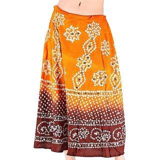 Shoppingtara Mirror Work Bandhej Rajasthani Cotton Skirt -204
