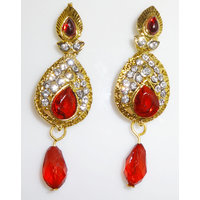 Jarani  Gold Plated Charming Floral Earrings With  Red Drops